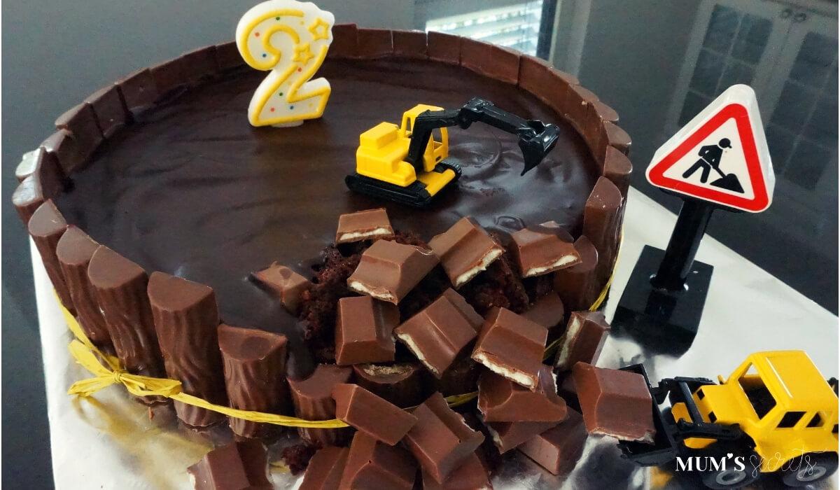 Baustellen-Kindergeburtstag-Geburtstagskuchen