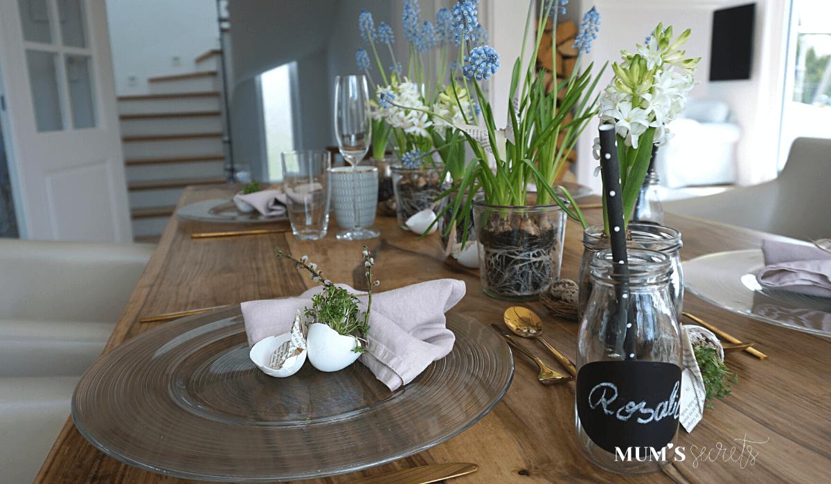 Osterbrunch nachhaltig gedeckt by MUM'S secrets Leinen-Stoffservietten