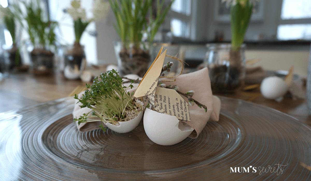 Osterbrunch nachhaltig gedeckt by MUM'S secrets Kresseei mit Hase