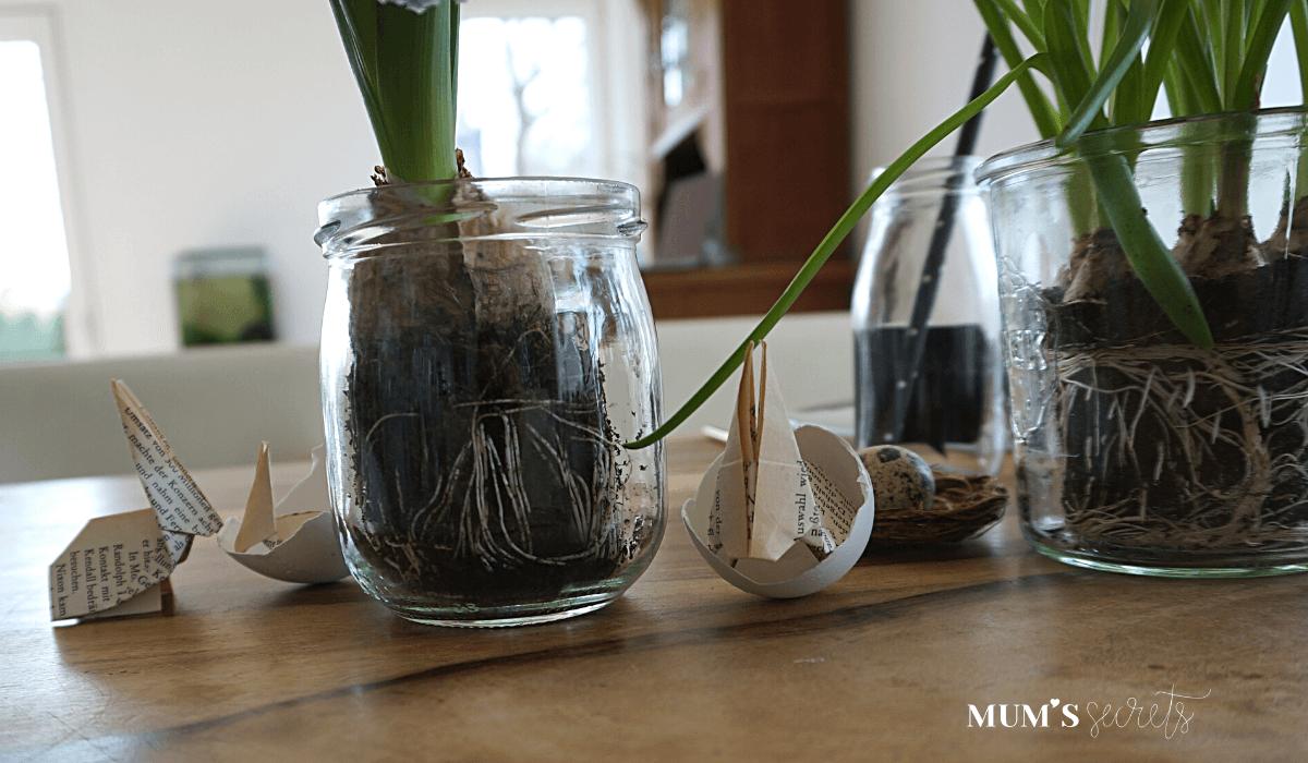 Osterbrunch nachhaltig gedeckt by MUM'S secrets Frühjahrsblüher im Marmeladeglas