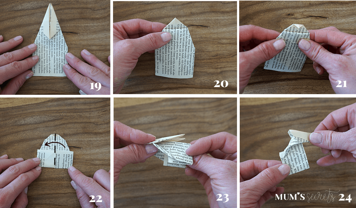 Upcycling Origami Hase Faltanleitung 19-24