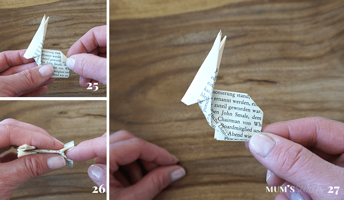 Upcycling Origami Hase MUMS secrets Faltanleitung 25-27